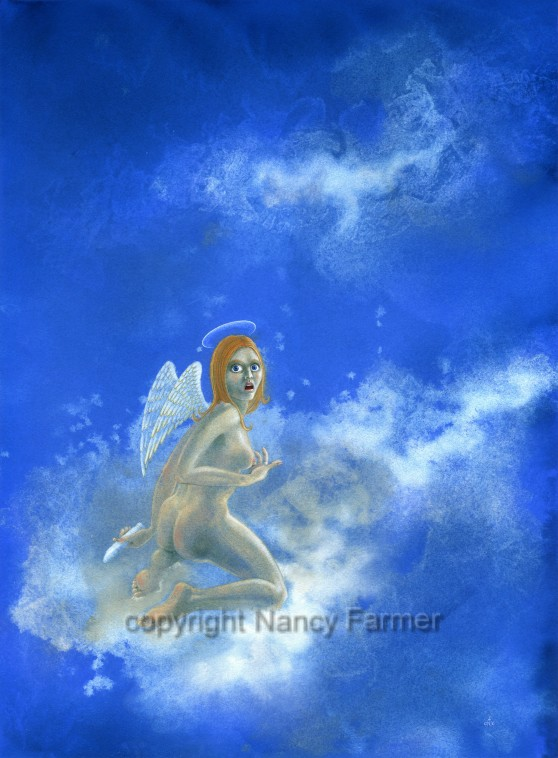 Angel with Vibrator - erotic humour by Nancy Farmer