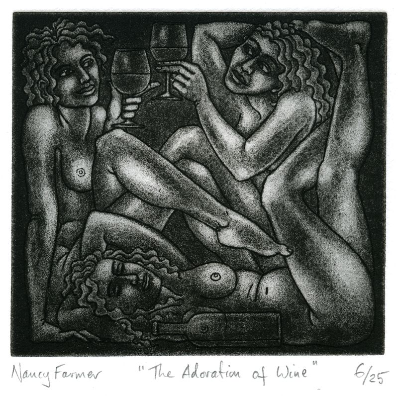 The Adoration of Wine - etching print by Nancy Farmer