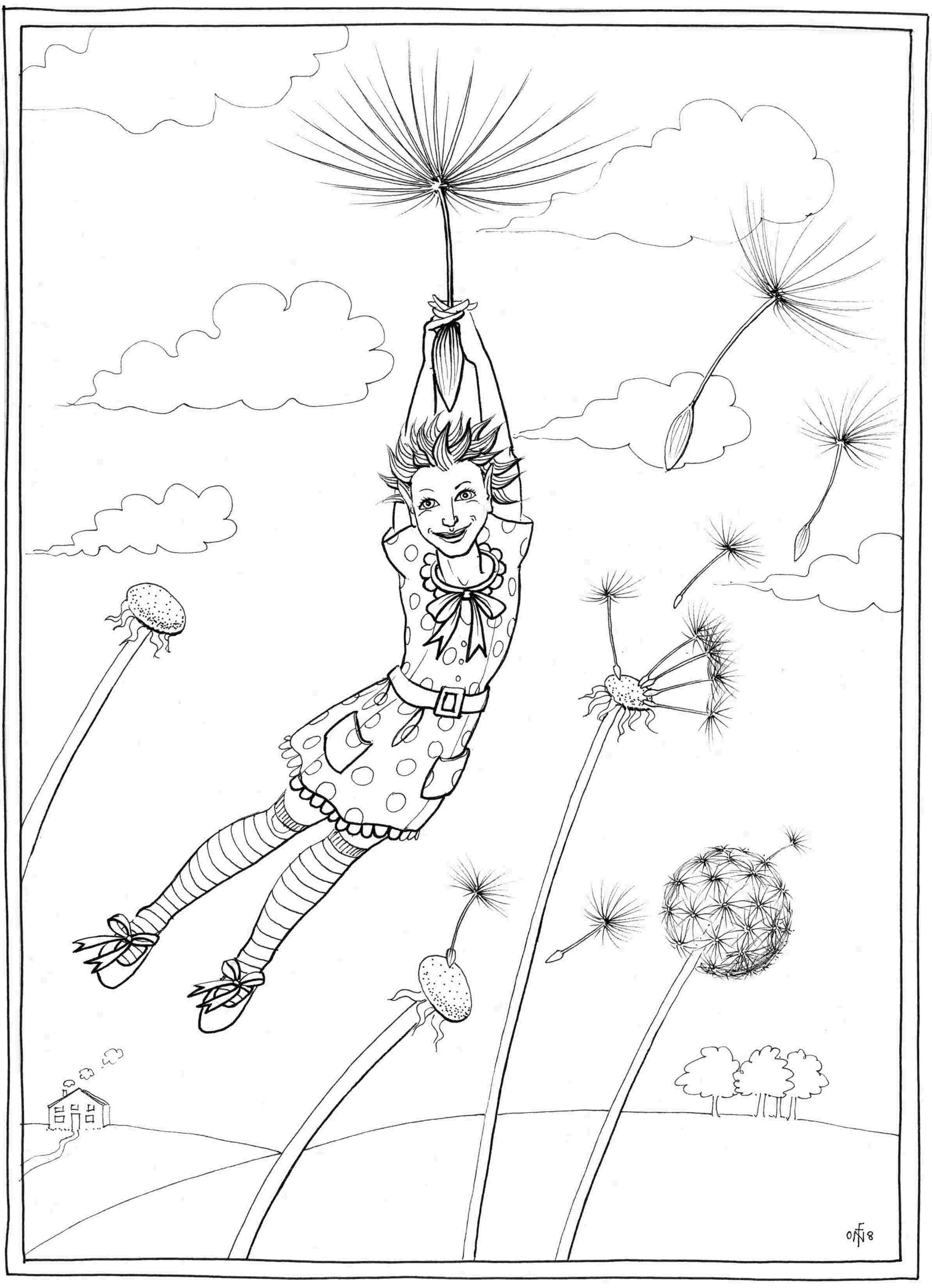 Away with the Dandelions - colouring-in drawing - to download, right click and save, print out and colour in!