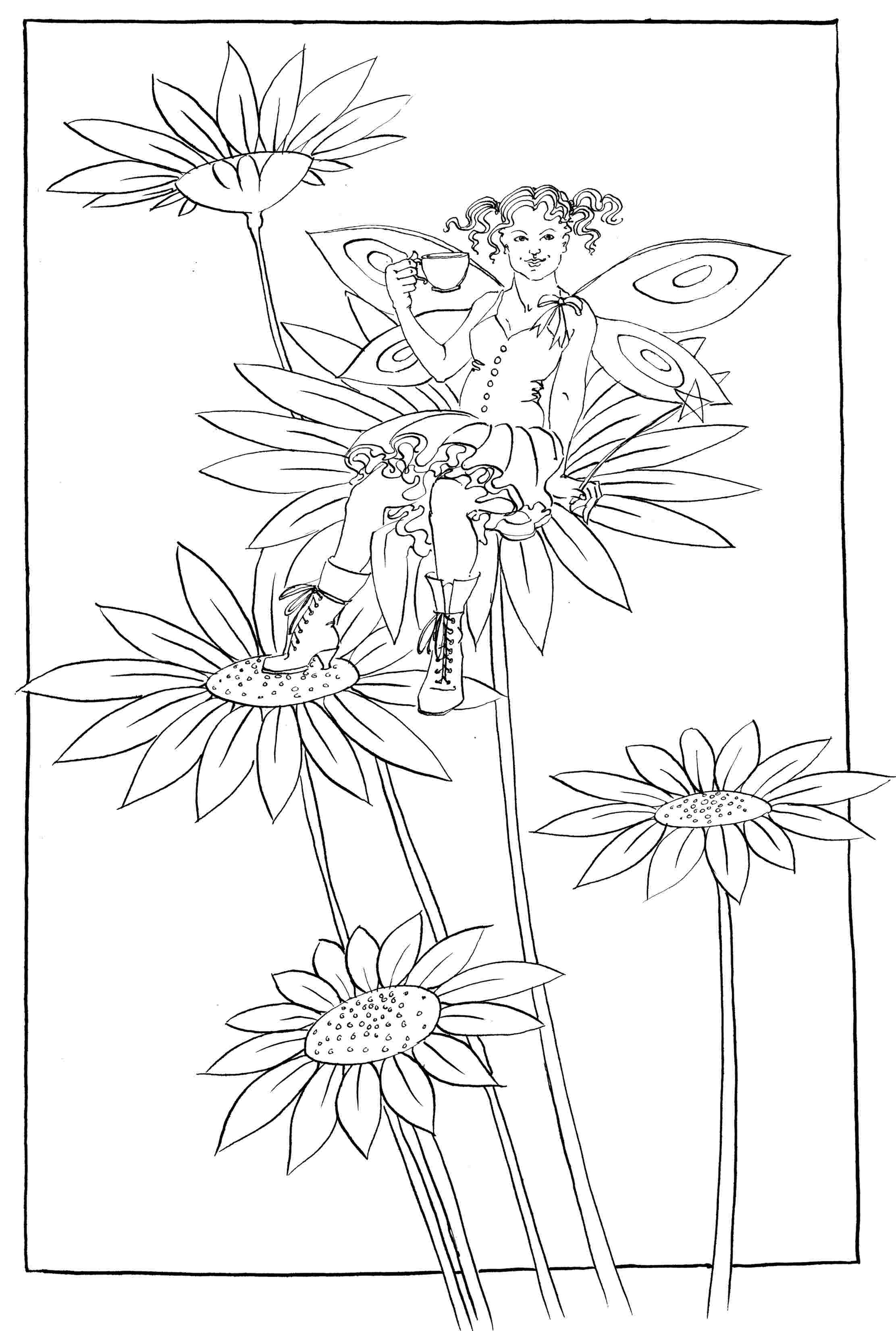 Daisy Boots - colouring-in drawing - to download, right click and save, print out and colour in!