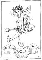 Dancing on Fairy Cakes - colouring-in drawing by Nancy Farmer