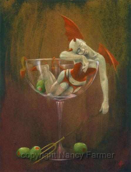 Painting and artwork by Nancy Farmer: Demon Drink