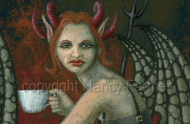 devils tea party - detail - painting and artwork by Nancy Farmer