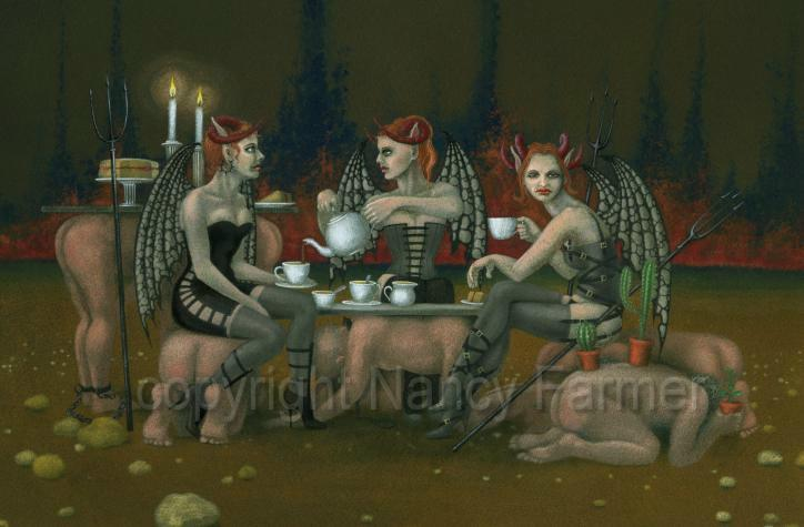 devils tea party - painting and artwork by Nancy Farmer