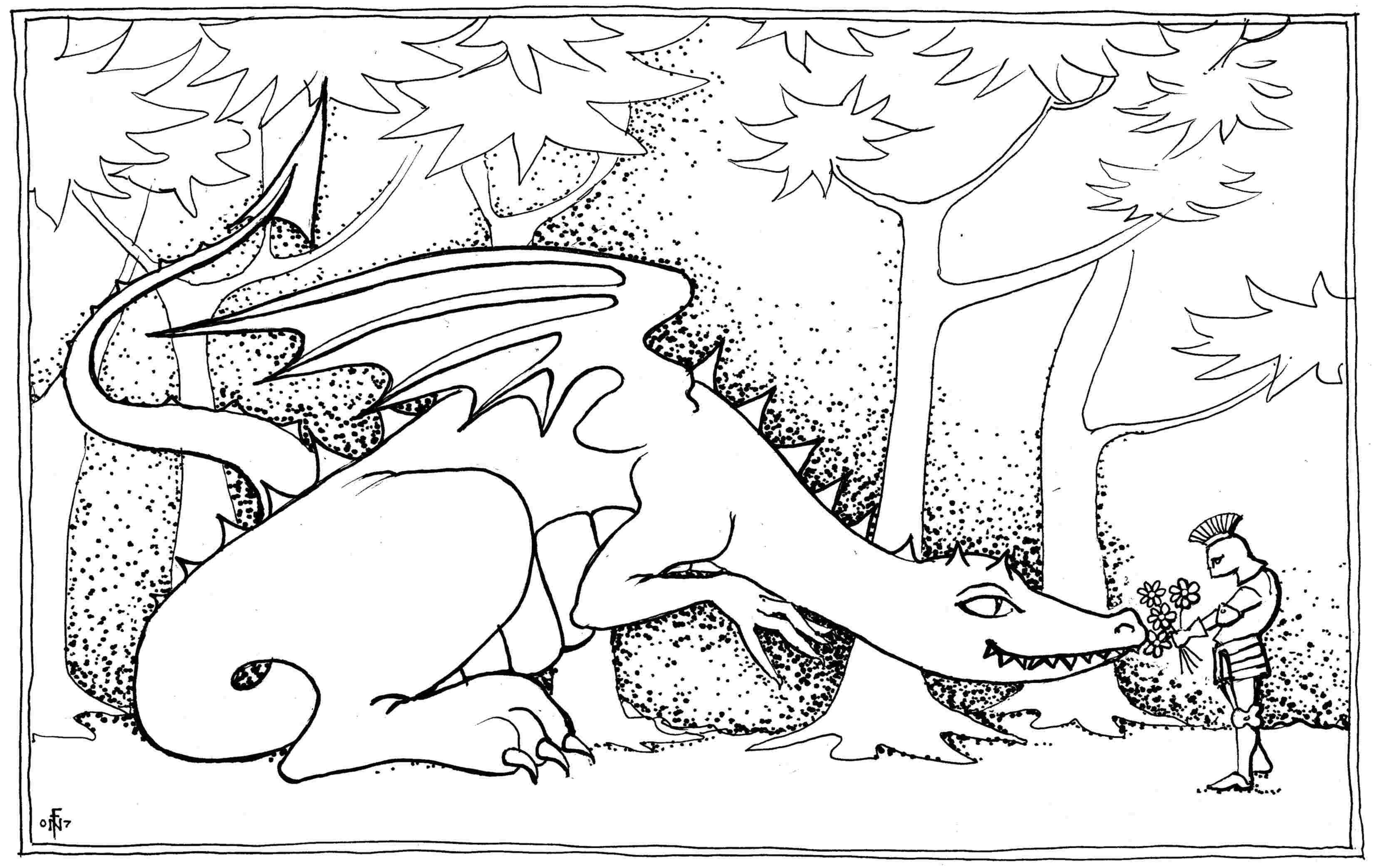 Dragon Bouquet - colouring-in drawing - to download, right click and save, print out and colour in!