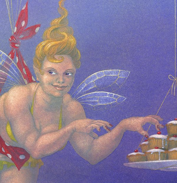 Fairy Cakes I - painting in gouache by Nancy Farmer