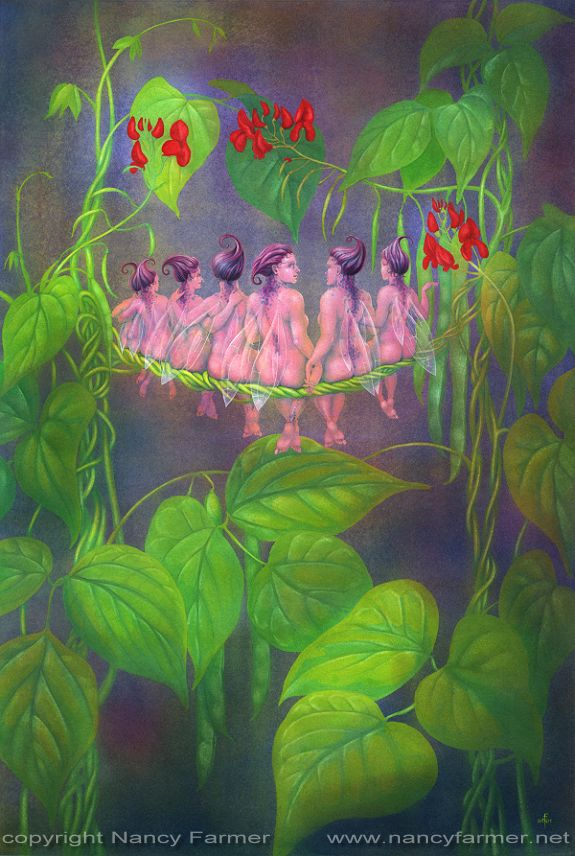 The Flower Fairies go to Seed: Runner Beans - painting by Nancy Farmer