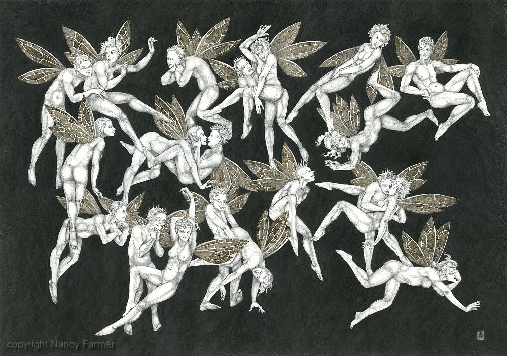 Frolicking Fairies - drawing in pencil, with palladium leaf.
