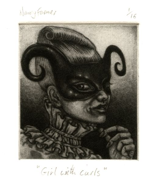 mezzotint print by Nancy Farmer: 'Girl with curls'