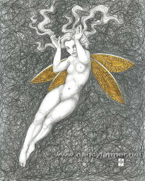 Gold Fairy 57 - drawing by nancy Farmer