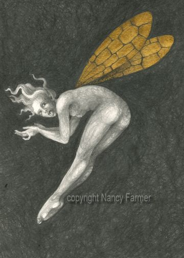 Gold Fairy 10 - drawing by nancy Farmer