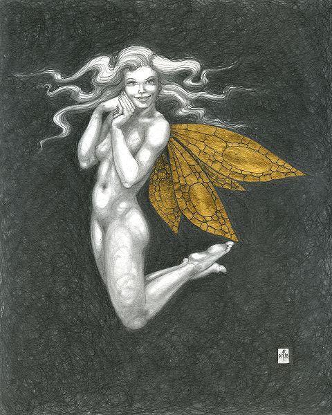 Gold Fairy 45 - drawing by nancy Farmer