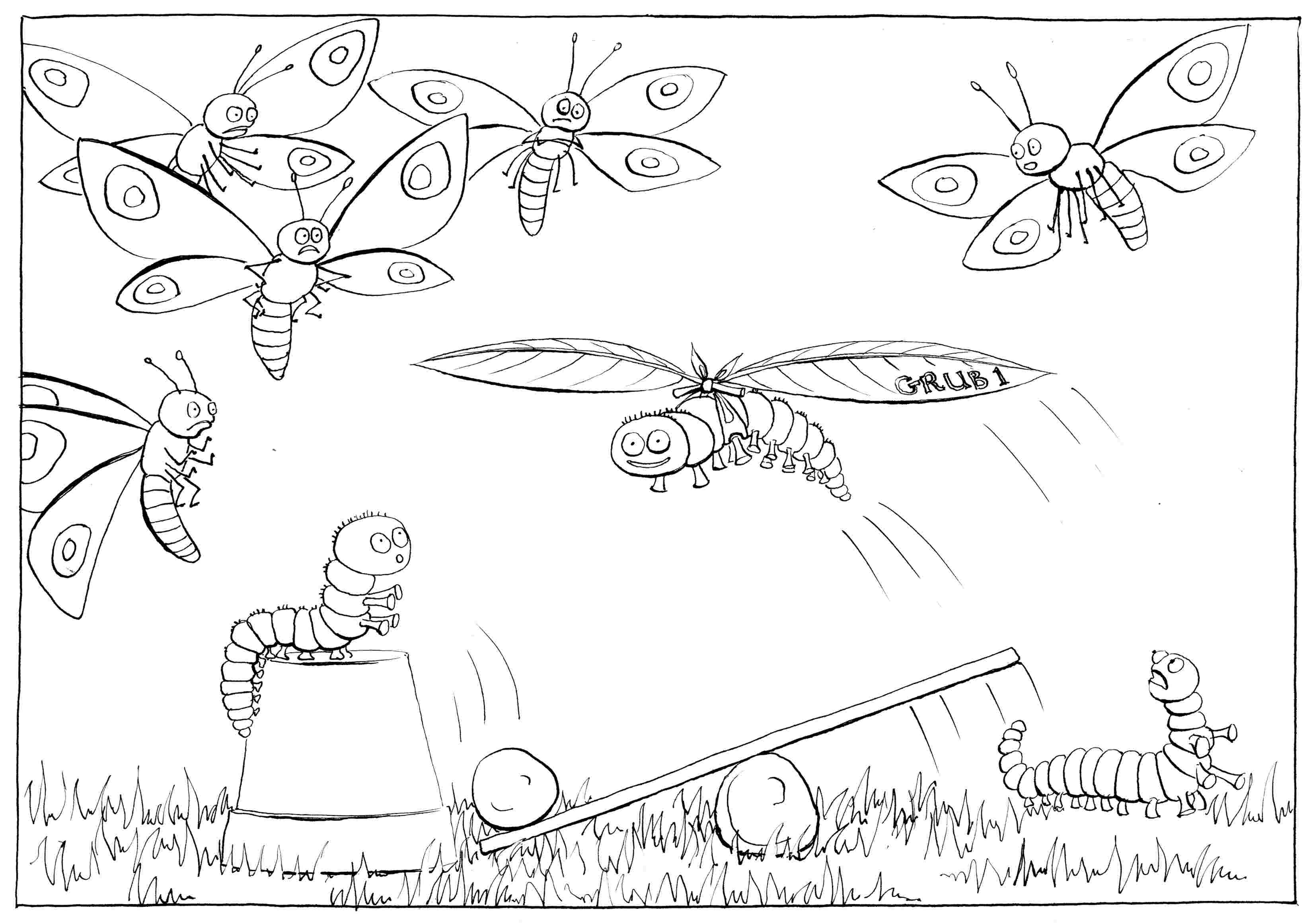 Learning to Fly: part I - colouring-in drawing - to download, right click and save, print out and colour in!