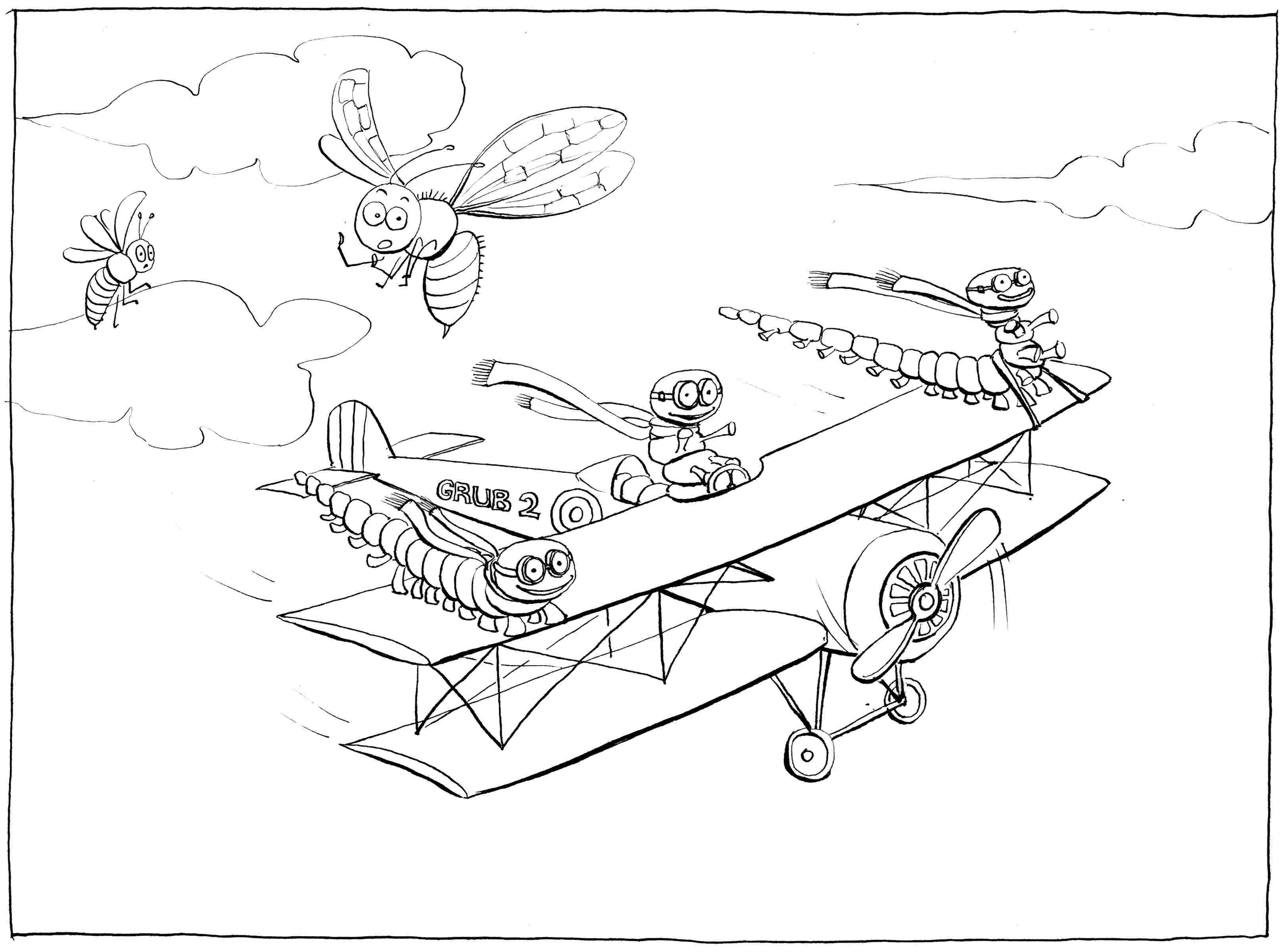Learning to Fly: part II - colouring-in drawing - to download, right click and save, print out and colour in!