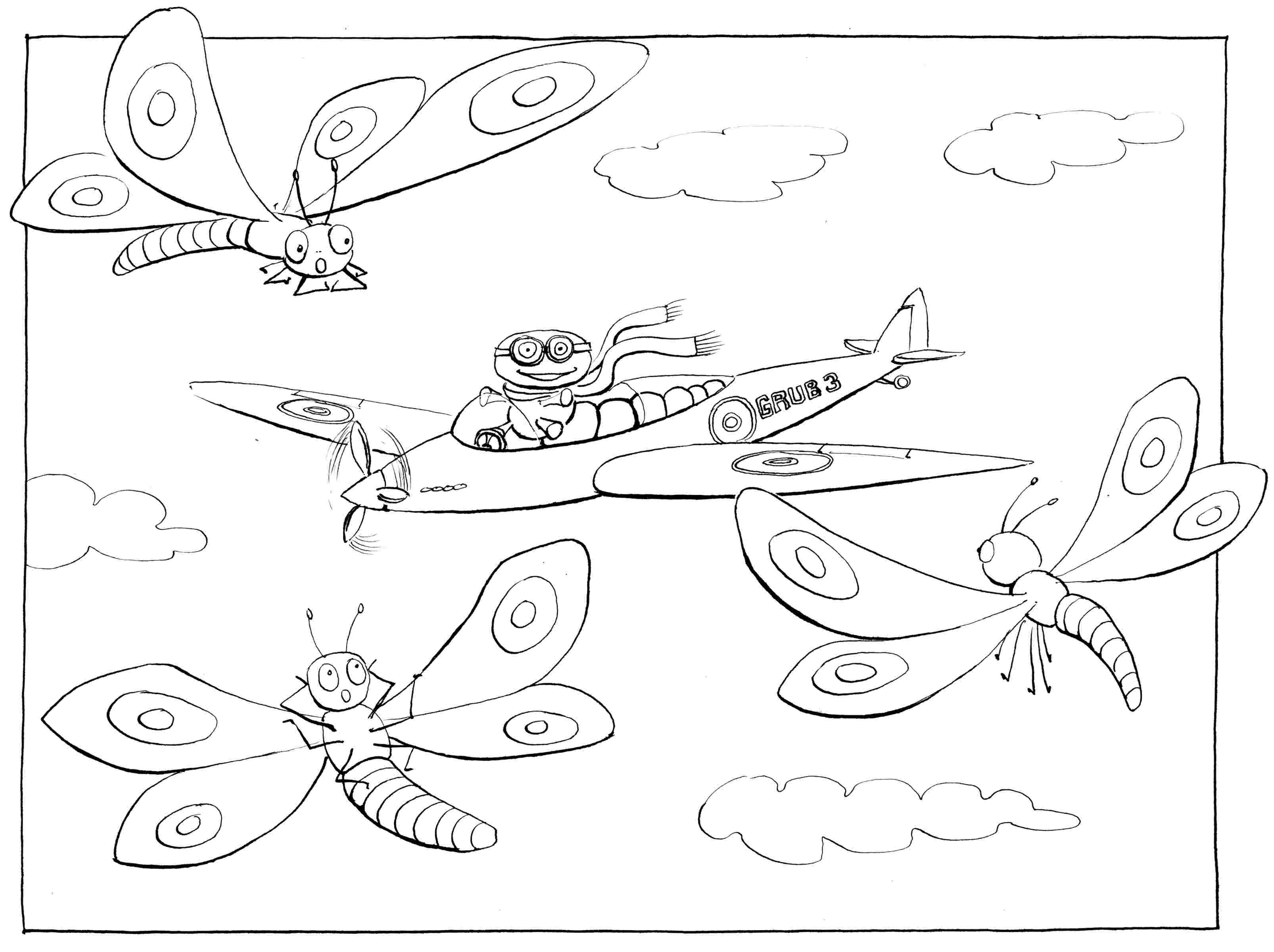 Learning to Fly: part III - colouring-in drawing - to download, right click and save, print out and colour in!