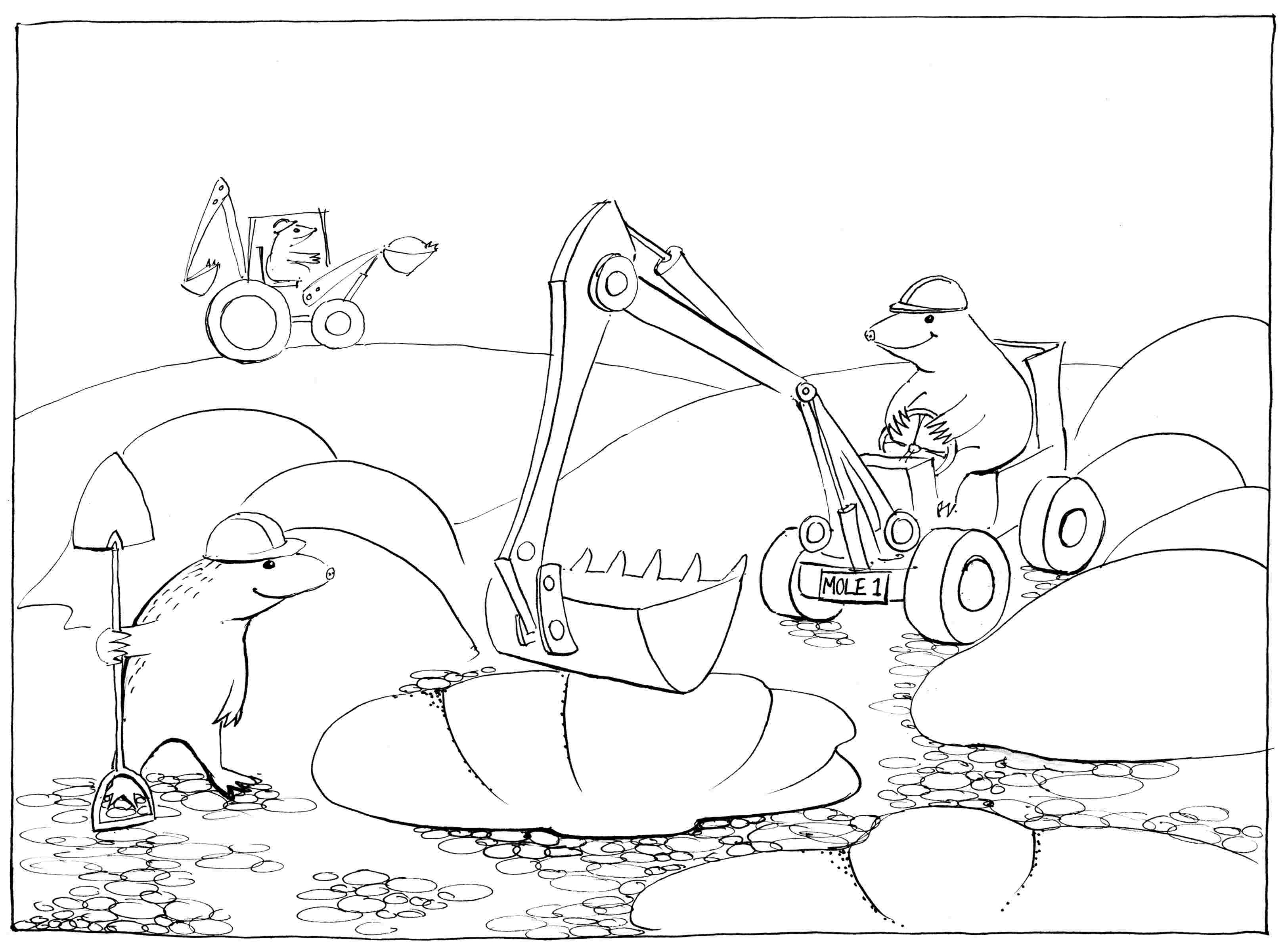 Mole Hills - colouring-in drawing - to download, right click and save, print out and colour in!