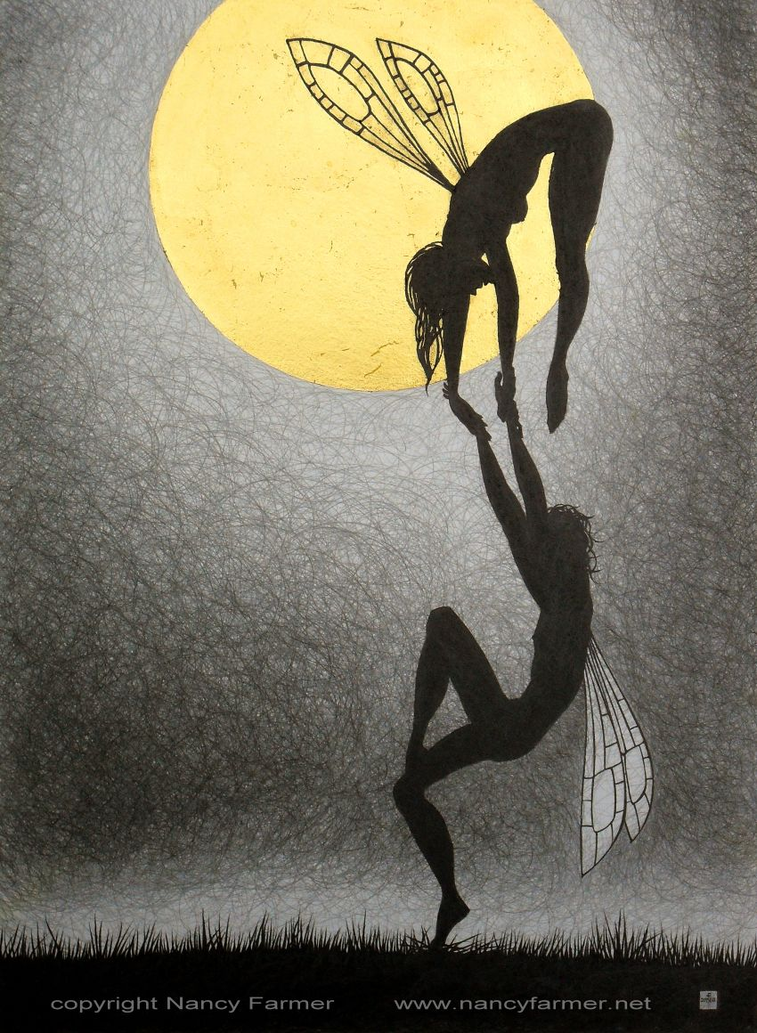 'Moonlit February'- drawing in gold leaf and pencil