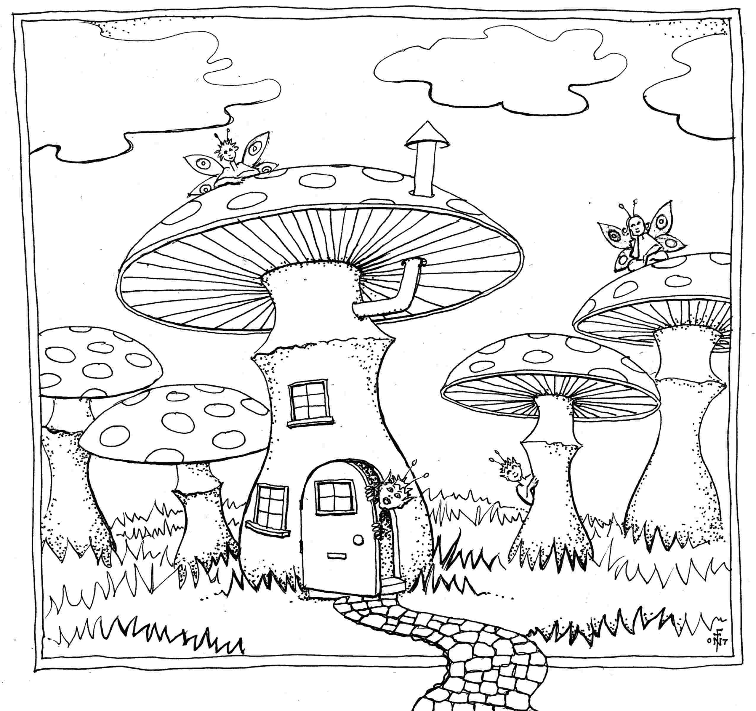 Mushroom Residence - colouring-in drawing - to download, right click and save, print out and colour in!