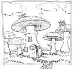 Mushroom Residence - colouring-in drawing by Nancy Farmer