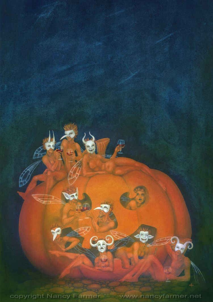 'The October Masquerade' - painting in gouache by Nancy Farmer