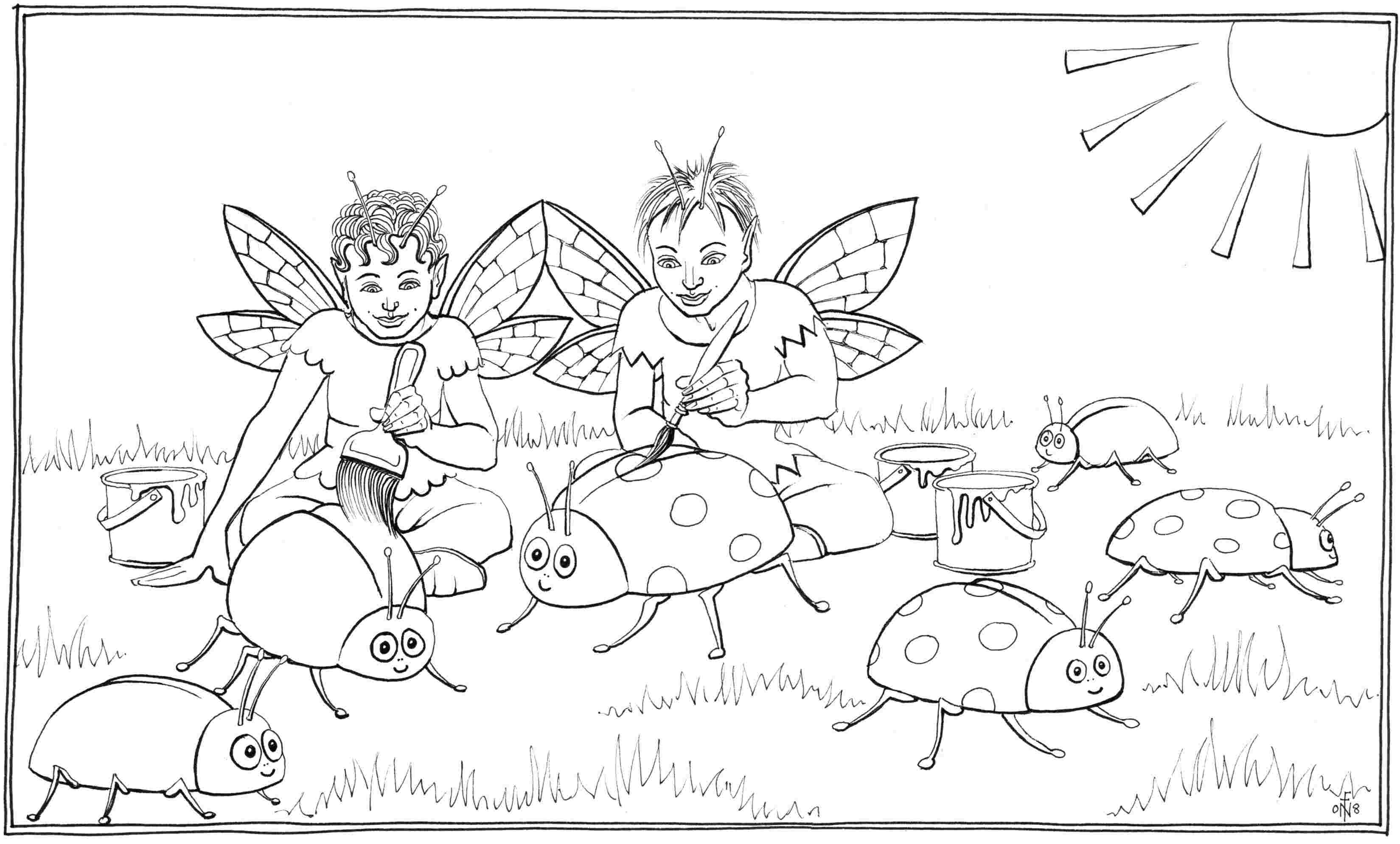 Painting Ladybirds - colouring-in drawing - to download, right click and save, print out and colour in!