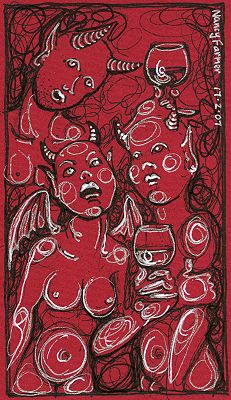 Permanent Sketch 13: Three Demons Drinking - drawing by nancy Farmer
