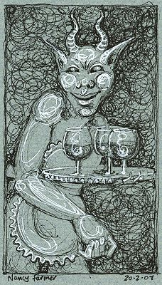 Permanent Sketch 27: Monster Wine Waiter - drawing by nancy Farmer