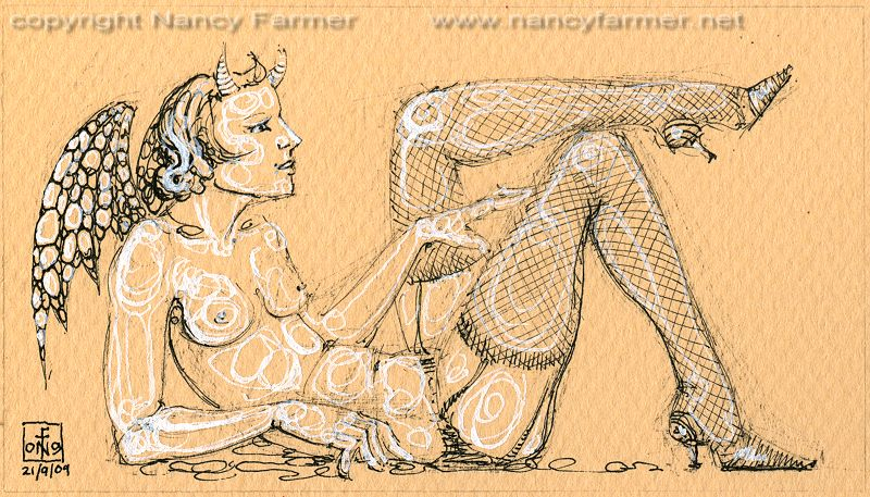 Permanent Sketch 64: Reclining Demon in Stockings - drawing by nancy Farmer