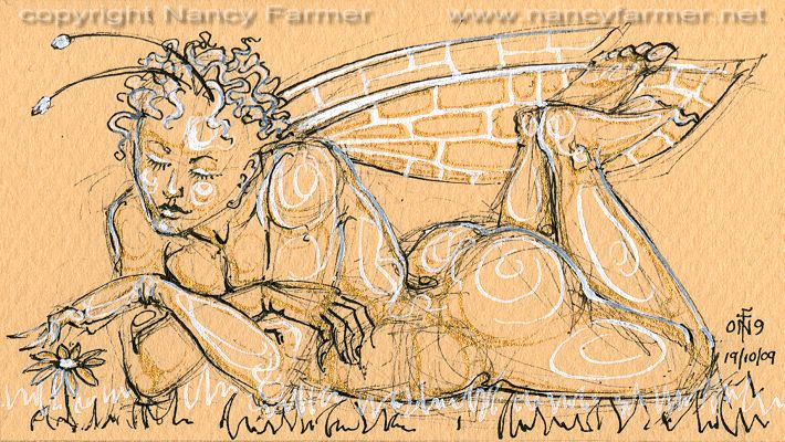 Permanent Sketch 69: Pensive Fairy with a Daisy - drawing by nancy Farmer