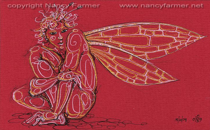 Permanent Sketch 70: Cautious Red Fairy - drawing by nancy Farmer
