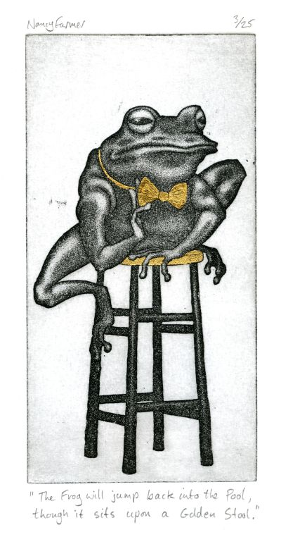 Proverbs in Gold 5: 'The Frog will jump back into the Pool, though it sits upon a Golden Stool'