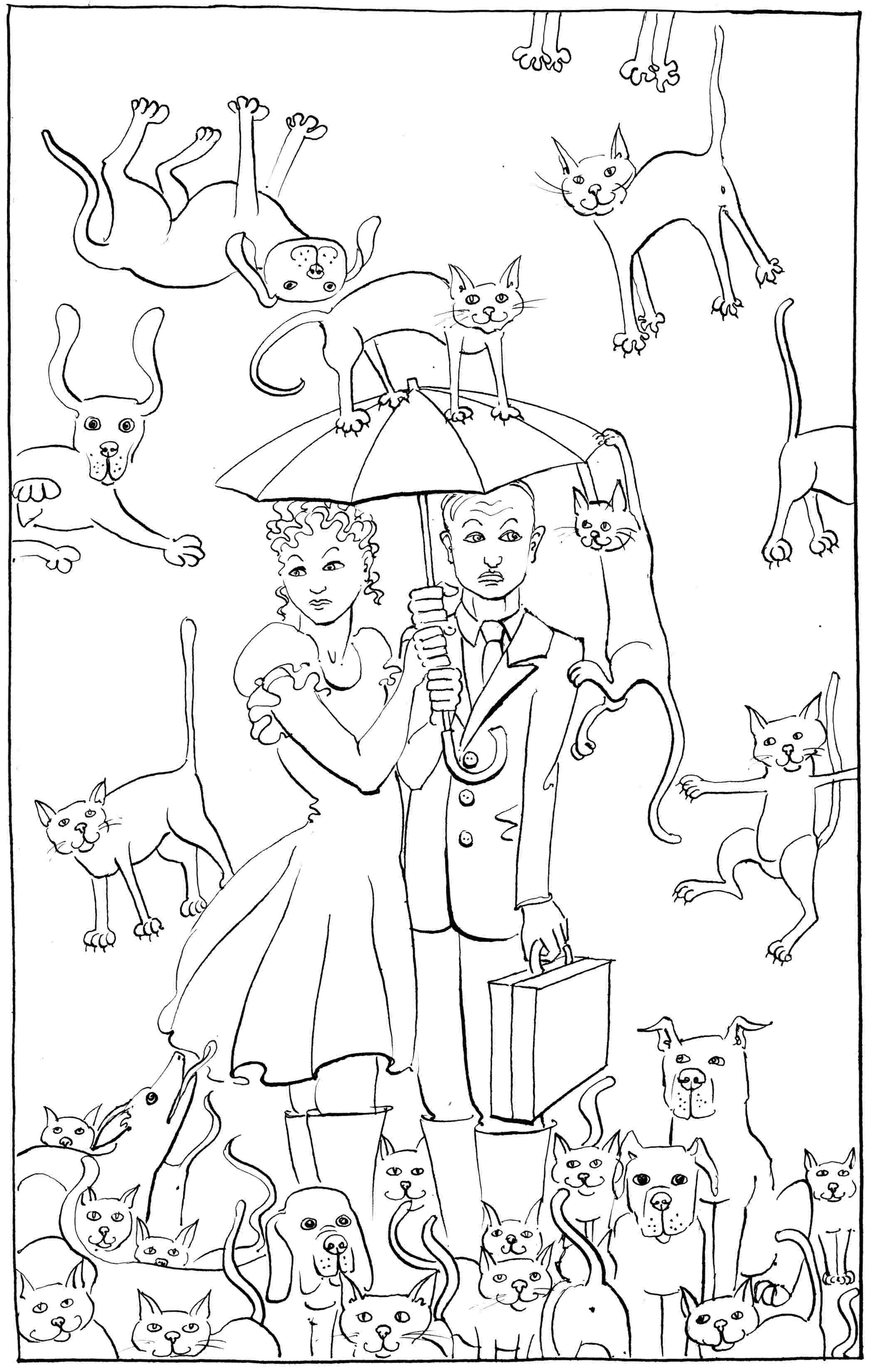Raining Cats and Dogs - colouring-in drawing - to download, right click and save, print out and colour in!