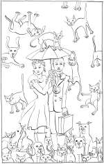 Raining Cats and Dogs - colouring-in drawing by Nancy Farmer