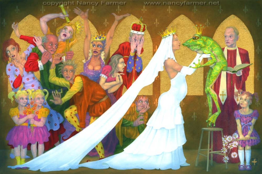 The Royal Wedding - painting in gouache, with gold leaf, by Nancy Farmer