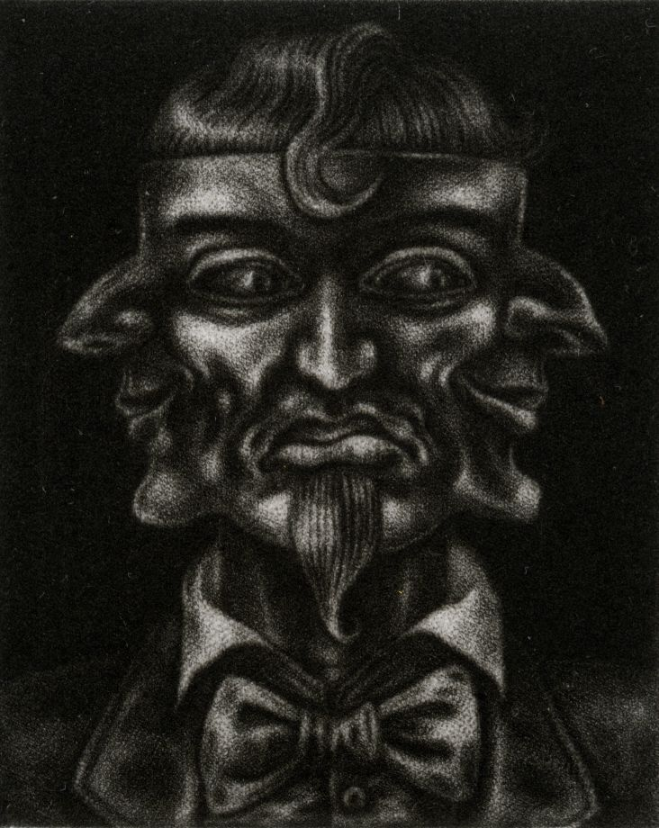 close-up of mezzotint print