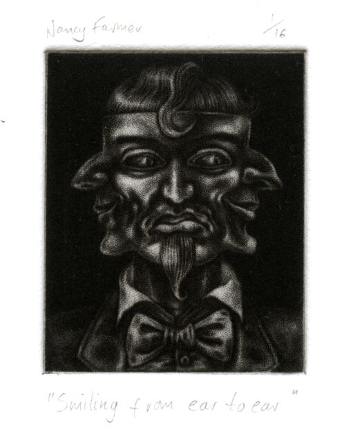 mezzotint print by Nancy Farmer: 'Smiling from ear to ear'