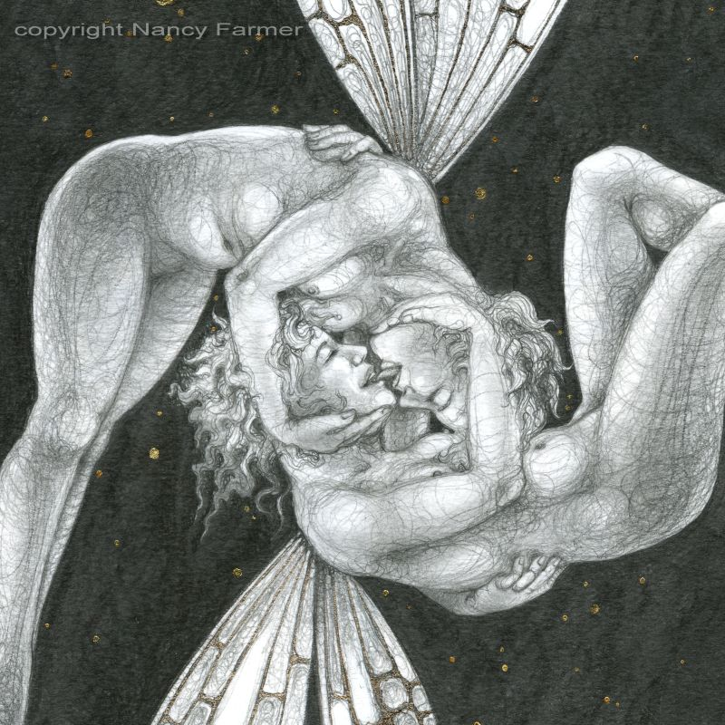 Starlit Kiss - close-up of drawing by Nancy Farmer