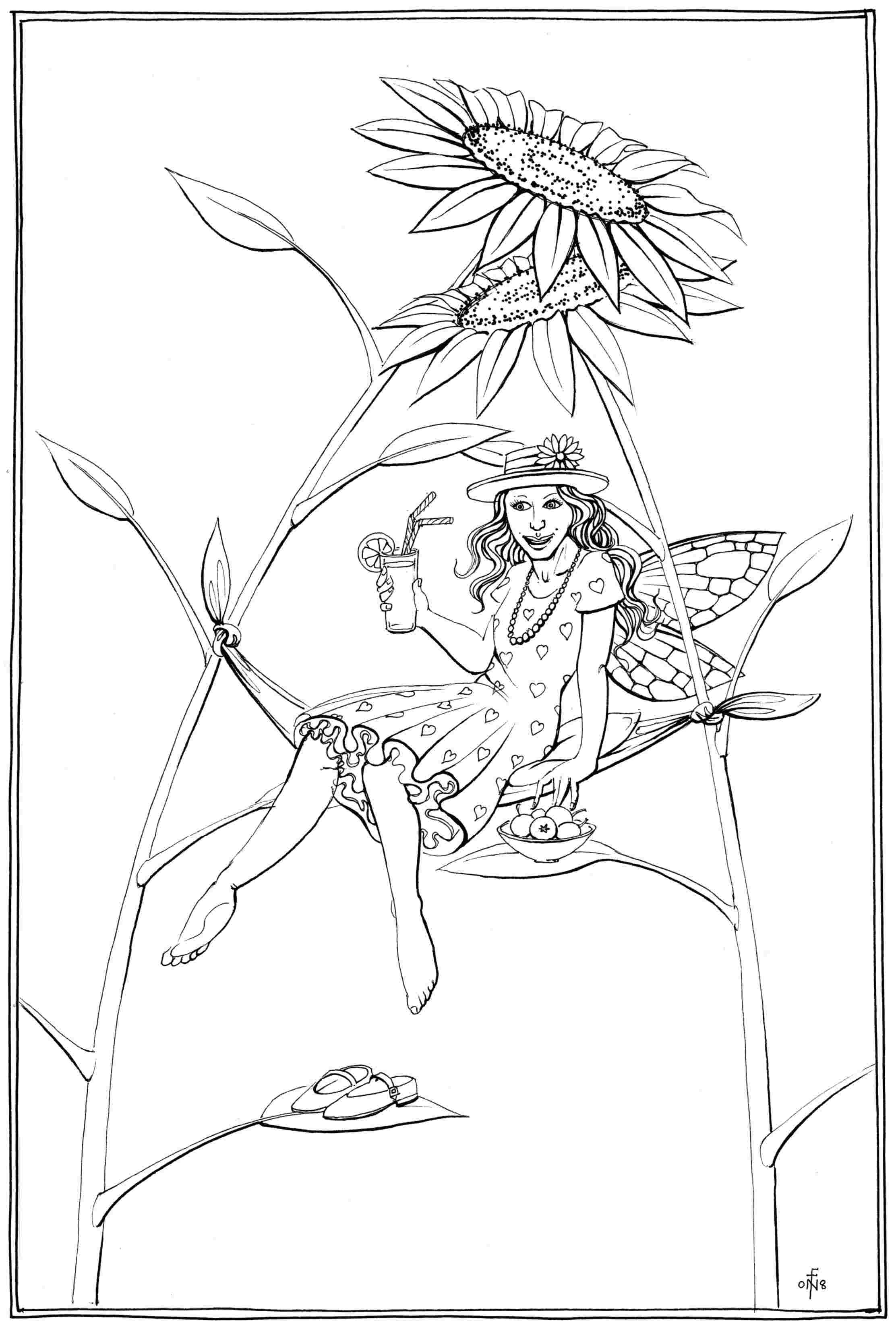 Sunflower Bower - colouring-in drawing - to download, right click and save, print out and colour in!
