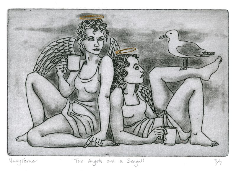 Two Angels and a Seagull - etching print