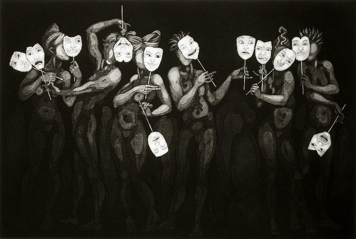 Two Faced - masquerade etching by Nancy Farmer