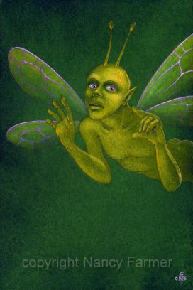 Wise Ugly Yellow Fairy - painting by Nancy Farmer