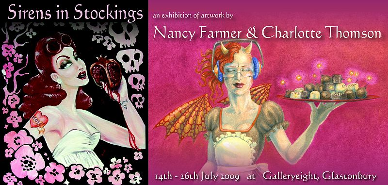 Banner - Sirens in Stockings - joint exhibition of artwork by Nancy Farmer and Charlotte Thomson